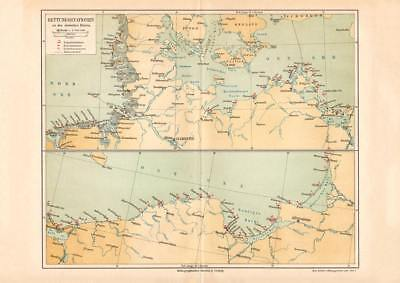 Sea Rescue Stations German Empire North Sea Baltic Sea map Lithograph Print 1892