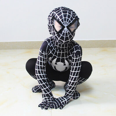 Halloween Boys Black Spiderman Bodysuit Venom Cosplay Costume Kids Party Zentai