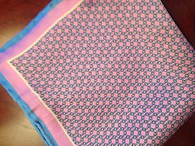 """Windom Finery Us New ~14"""" 100% Silk Pocket Square Hand Rolled Pink Blue"""