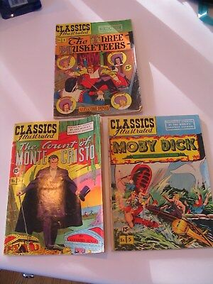 Classics Illustrated No.1, No.3, and No. 5 Comic Books