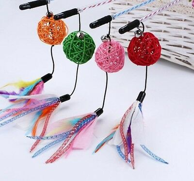 Pet Cat Toy Cute Rattan Ball Teaser Wand Plastic Bell Kitty Interactive Toys Kit