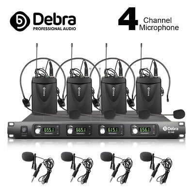 D-140 4 Channel with 4 Lavalier & 4 Headset Mic UHF Wireless Microphone System