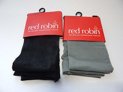 2 x Girls Red Robin 70 Denier Microfibre Tights Ages 4-6  Black and Grey - NEW