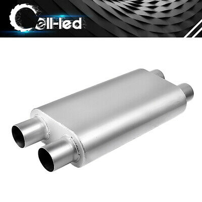 """2 Chamber 2.5"""" Dual Inlet / 2.5"""" Dual Tip Outlet Offset Performance Race Muffler"""