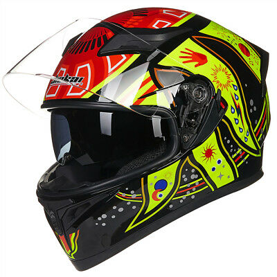 ILM Full Face Dual Visor Motorcycle Helmet DOT Approved Motocross Helmet M L XL