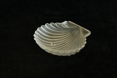 Vintage Frosted Clear Glass 2-Footed Clam Shell Open Salt Cellar Dip Nut Dish