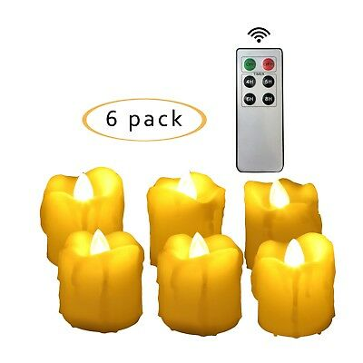 Flameless Flicker LED Battery Operated Votive Candles w/ Remote and Timer 6 Pack