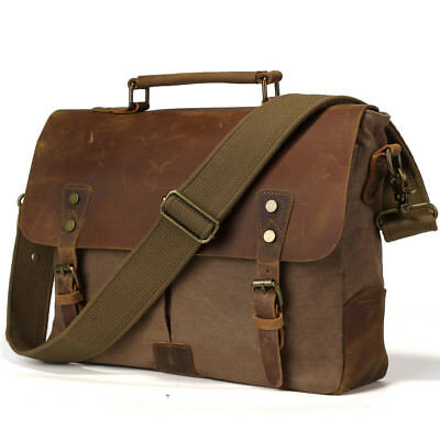 "Vintage Men's Leather Canvas 14"" Laptop Satchel Shoulder Bag Tote Work Briefcase"