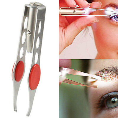 NEW EYEBROW EYELASH TWEEZERS with Built-In LED LIGHT Hair Removal Makeup Kit AU