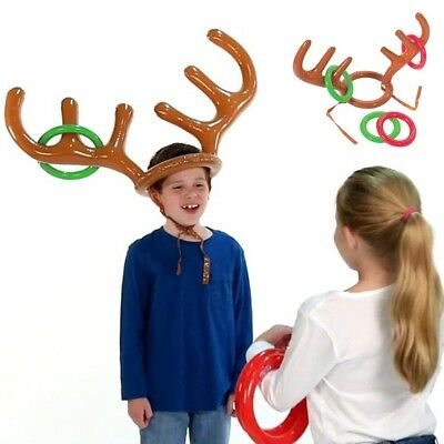 Inflatable Reindeer Antler Hat Ring Toss Christmas Party Game Toy Gift Nice