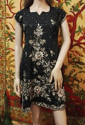 Handmade Unique Black & Gold Indian Ethnic Embroidered Beaded Tunic Dress M