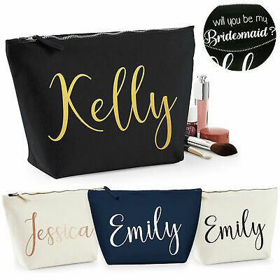 Personalised Bride Bridesmaid Any Name Text Birthday Wedding Gift Make Up Bag