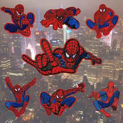 1 pcs Spiderman Fabric Embroidered Cloth Iron On Patch Applique Web #875