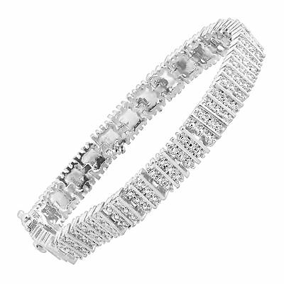 Square Link Tennis Bracelet with Diamonds in Sterling Silver-Plated Brass