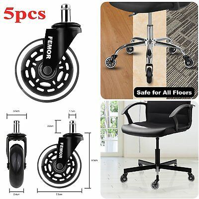 5pcs Soft Rubber 75mm Castor Wheels Set Office Furniture Chair Swivel Caster UK
