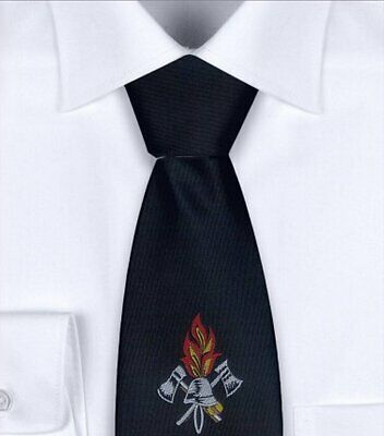 Blue feuerwehrkrawatte with Woven Emblem, in 2 LENGTHS AVAILABLE, Tie