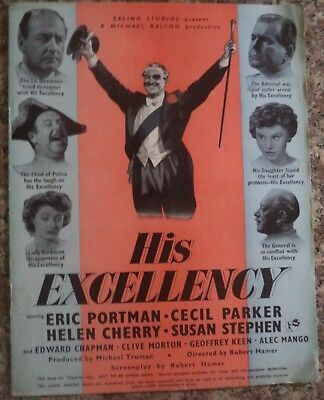 """""""His Excellency"""" 1952 Rare Vintage Ealing Studios Campaign Book 8 Pages"""