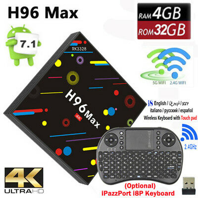 4GB/32GB H96 Max H2 Android 7.1 Smart TV Box Quad-Core 4K HDR10 Media Player NEW