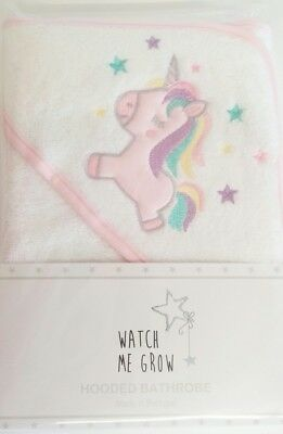 New Baby Girl Cute White Pink Robe Hooded Towel Unicorn Design Watch Me Grow