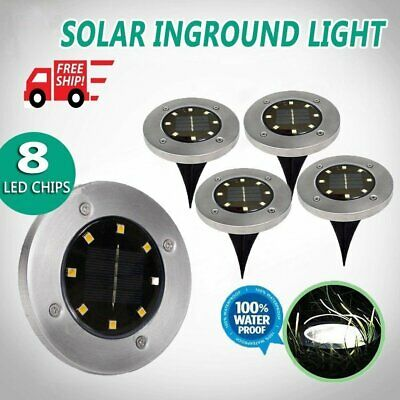 Solar Powered Ground Light Outdoor Waterproof Garden Pathway Lights 8 LEDs AU