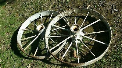 """Antique Steel Spoked Wagon Implement Wheels Cast Iron Hub Horse Drawn Rustic 32"""""""