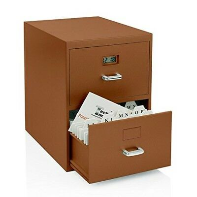 Miniature File Cabinet Business Cards Built-in Digital Clock Business Office NEW
