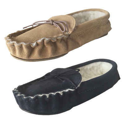 470ce92ff370 Suede Moccasin Slippers Fur Lined Hard Sole Mens Navy Tan Sizes 6-12 UK Made