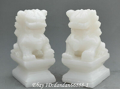 Beautiful Chinese fengshui natural white jade hand carve beast lion Statue pair