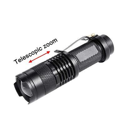 5000 LM  Q5 14500 AA 3 Modes Zoomable Lampe de poche LED Mini Torche Noir AT