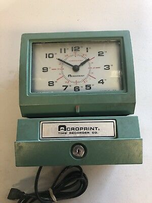 Acroprint Time Clock Model 150ER3 Automatic No Key Works Great