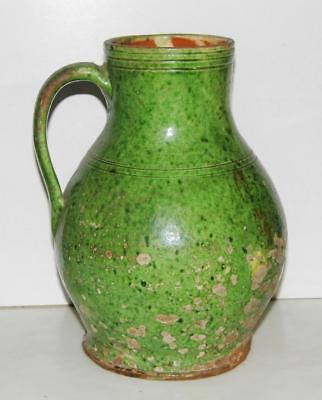 Large Ancient Islamic Raqqa Ayyubid Green Glazed Fritware Pottery Jug ca.1300