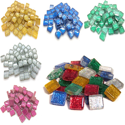 10mm Glitter Murrini Mosaic tiles for arts and Crafts - 100g Various Colours