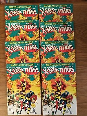 Lot of 8 Copies - Uncanny X-Men and the New Teen Titans 1 (Marvel and DC) 1982