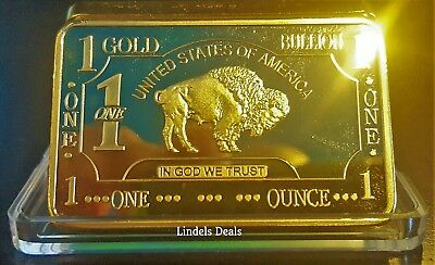 1-OZ GOLD BAR 24KT .999 100 MILLS CLAD BAR -w-CASE / BUY 3 GET 1 FREE