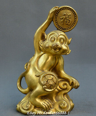 Collect Chinese fengshui old Bronze Zodiac Monkey ruyi coin auspicious Statue