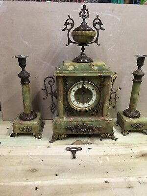 onyx clock and candle sticks