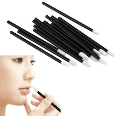 10x Black Disposable Lip Gloss Wands Lipstick Brushes Makeup Applicator Spoolers