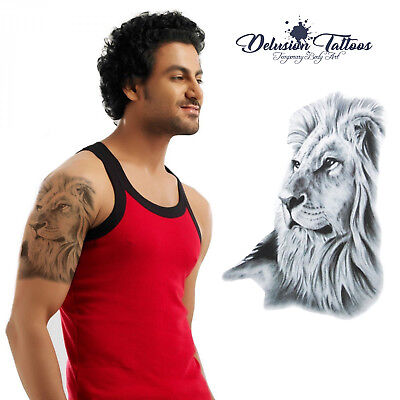 Lion Temporary Tattoo Body Art Mens, Womens, Kids, Stick On Tattoo, Waterproof
