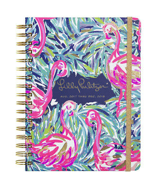 NEW Lilly Pulitzer 2017 2018 LARGE 17 MONTHS AGENDA in Multi Flamenco Beach