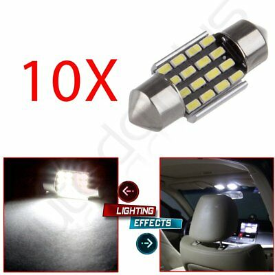 10x White 31mm Error Free Car LED Festoon Interior 16SMD Dome Map Bulb Light 12V
