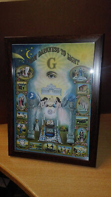 "Masonic ""From Darkness To Light"" framed print in brown frame"