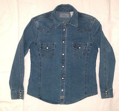 Misses Small (4-6) Levi's Stretch L/s Pearl-Like Snap Front Blue Jean Shirt