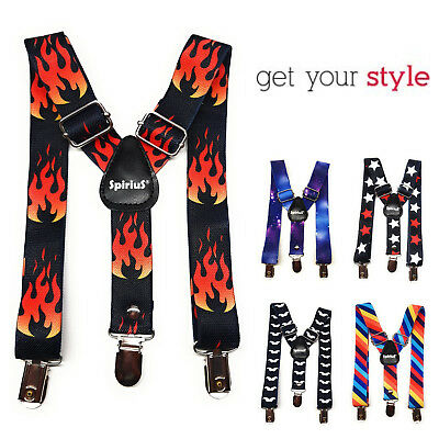 Child elastic Trousers suspenders Strong 3 Clips Cool Streetwear Party School