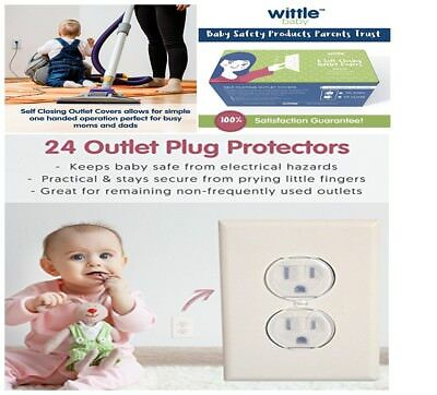 Wittle Self Closing Outlet Covers (6 White) Plus 24 Clear Plug Cover Outlet Prot