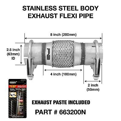 """Clamp ON 2.5"""" 63mm X 200mm Exhaust Flexible Joint Repair Flexi Pipe tube Flex"""
