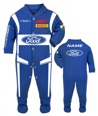 Car racing baby grow babygrow food blue baby race romper suit made in UK