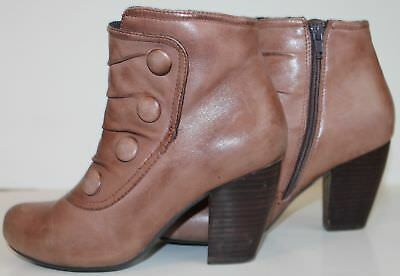 adba665a0efe MIZ MOOZ BROWN Leather Ankle Boots Size 6 Denise Button -  29.91 ...