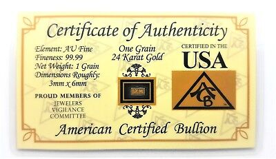 1/15 Gram .9999 Fine 24k Gold Bullion Bar - in Certificate of Authenticity Card