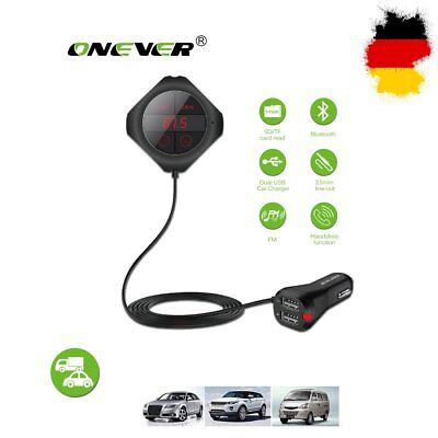 2.5A Dual USB Auto KFZ Bluetooth FM Transmitter Kit MP3 Musik Player Drahtlos DE