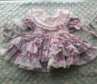 Vintage baby girl floral ruffle dress